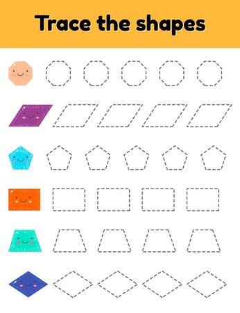 illustration vectorielle. Feuille de travail de traçage pédagogique pour les enfants d'âge préscolaire, préscolaire et scolaire. Trace la jolie forme géométrique. Lignes en pointillé.