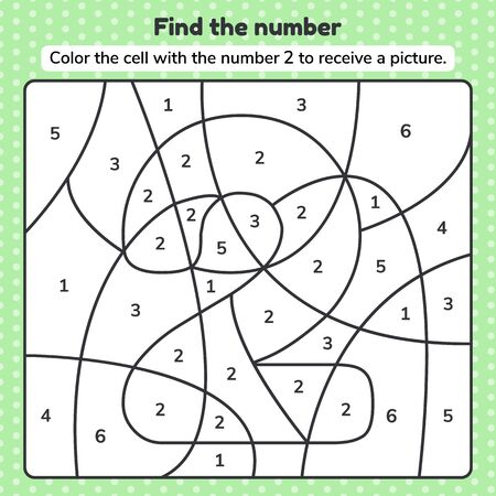 Coloring book number for kids. Worksheet for preschool, kindergarten and school age.