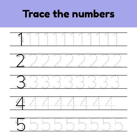 Set. Trace line number for kindergarten and preshool kids. Ilustração