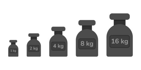 illustration. a set of weights for scales in the style of flat. calibration weights