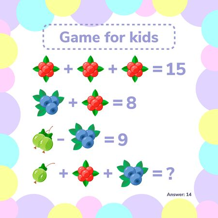 illustration. Educational a mathematical game. Logic task for children. Addition, subtraction