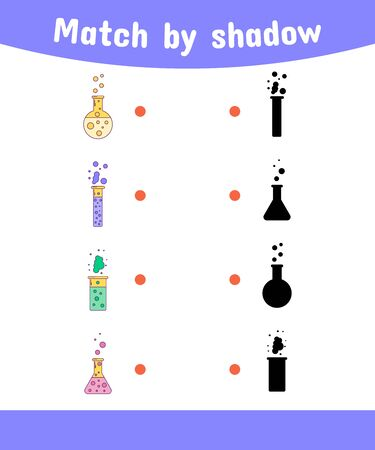 illustration. Matching game for children. Connect the shadow of the chemical bottle. Stock Photo