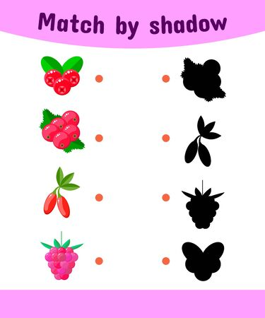 illustration. Matching game for children. Connect the shadow of the berries. cranberries, currants, Goji, raspberry Stock Photo