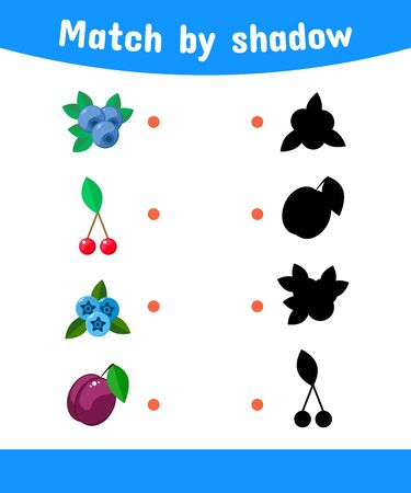 illustration. Matching game for children. Connect the shadow of the berries. cloudberries, blueberry, cherry, plum Stock Photo