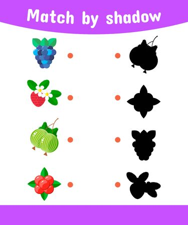 illustration. Matching game for children. Connect the shadow of the berries. blackberries, strawberries, gooseberries, cranberries Stock Photo