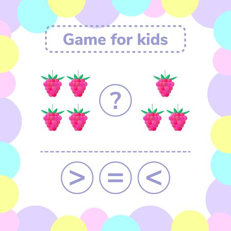 illustration. Education logic game for preschool kids. Choose the correct answer. More, less or equal raspberry.