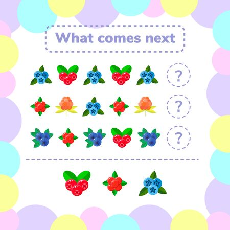 illustration. Education logic game for preschool kids. what comes next. berries. Stockfoto