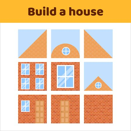 illustration. game for preschool kids. rebus for children. build a house. construction. puzzle