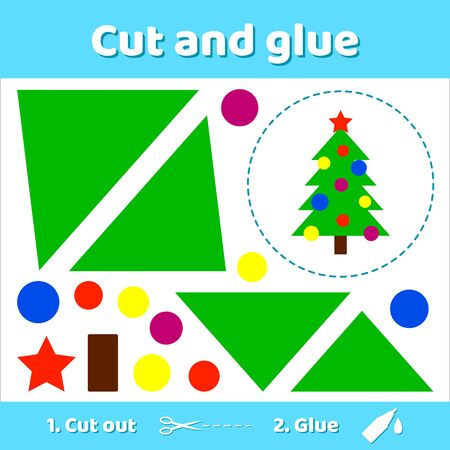 illustration. Christmas tree with balls and star. Education paper game for preschool kids. Use scissors and glue to create the image. Stockfoto