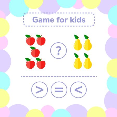 illustration. Education logic game for preschool kids. Choose the correct answer. More, less or equal apples and pears. Stock Photo