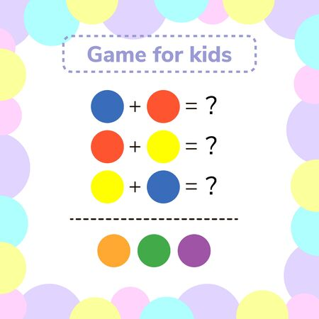 illustration. game for preschool kids. rebus for children. find the right answer. color mixing. Stockfoto
