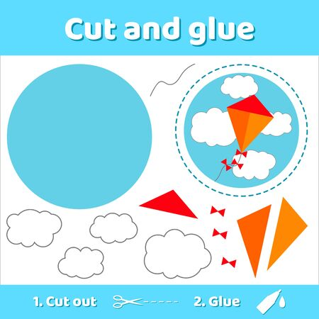 illustration. kite and clouds.. Education paper game for preschool kids. Use scissors and glue to create the image. Stockfoto