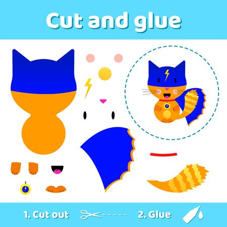 illustration. Cat superhero. Education paper game for preschool kids. Use scissors and glue to create the image.
