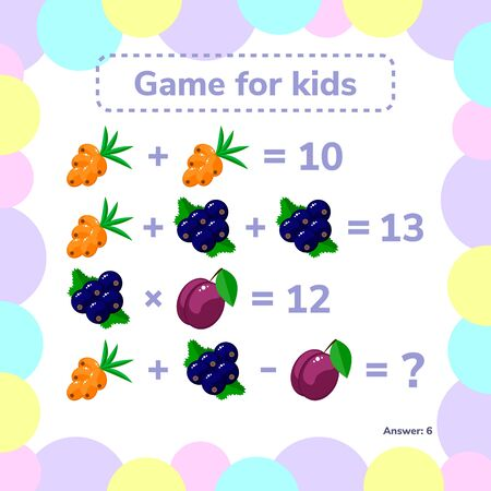 illustration. Educational a mathematical game. Logic task for children. Addition, subtraction, multiplication