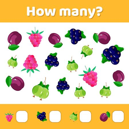 illustration. Educational a mathematical game. Counting game for children. How many.