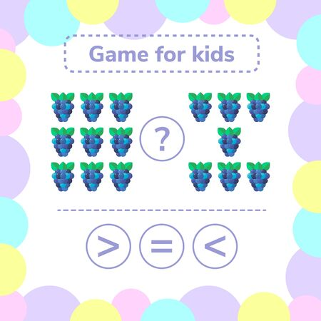 illustration. Education logic game for preschool kids. Choose the correct answer. More, less or equal BlackBerry. Stockfoto