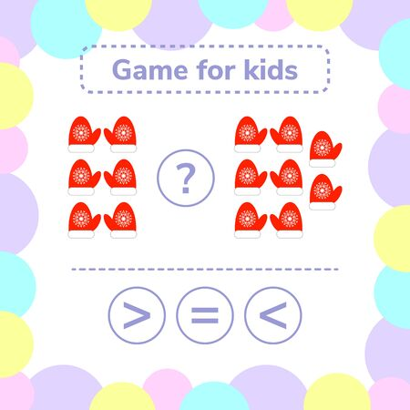 illustration. Education logic game for preschool kids. Choose the correct answer. More, less or equal red mittens with snowflakes.