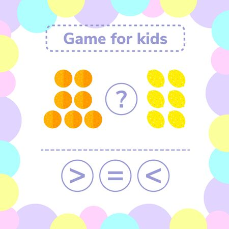 illustration. Education logic game for preschool kids. Choose the correct answer. More, less or equal oranges and lemons.