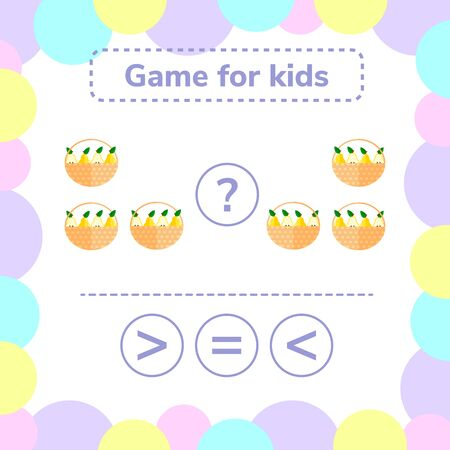 illustration. Education logic game for preschool kids. Choose the correct answer. More, less or equal basket with pears. Stockfoto