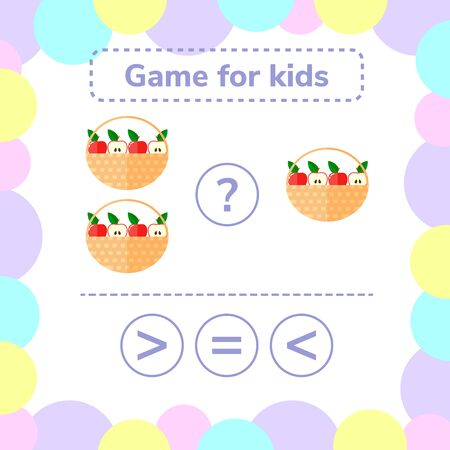 illustration. Education logic game for preschool kids. Choose the correct answer. More, less or equal basket of apples.