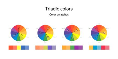 illustration of color circle, infographics, palette, triadic color swatches Stockfoto