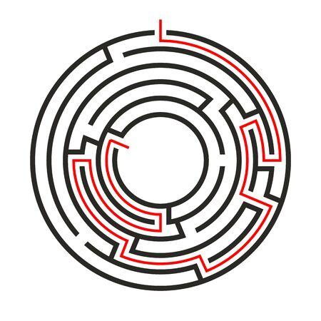 Bildungslogik-Spielkreislabyrinth für Kinder. Finden Sie den richtigen Weg. Isolierte einfache runde Labyrinth schwarze Linie auf weißem Hintergrund. Mit der Lösung. Vektor-Illustration.