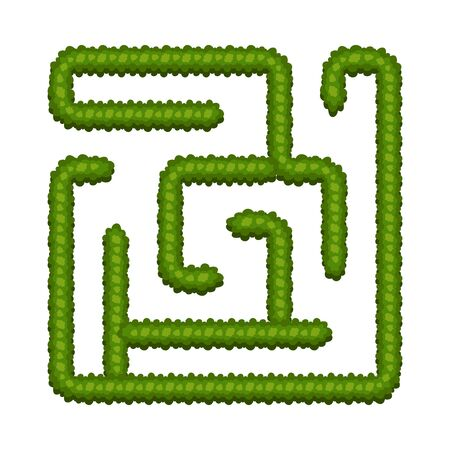 Labirinto del cespuglio del gioco di logica di educazione per i bambini. Trova la strada giusta. Labirinto quadrato semplice isolato su priorità bassa bianca. Illustrazione vettoriale.