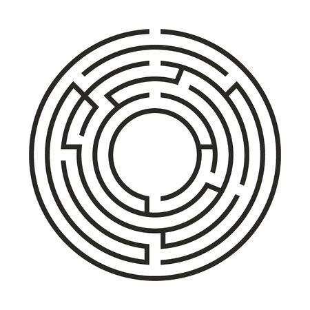 Labyrinthe de jeu de logique éducative pour les enfants. Trouvez le bon chemin. Ligne noire de labyrinthe rond simple isolé sur fond blanc. Illustration vectorielle.