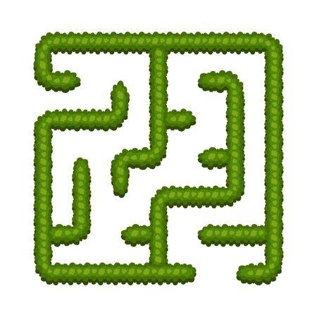 Education logic game bush labyrinth for kids. Find right way. Isolated simple square maze on white background. Vector illustration.