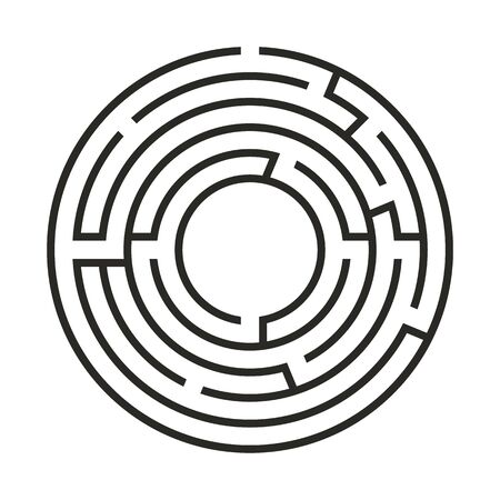 Education logic game labyrinth for kids. Find right way. Isolated simple round maze black line on white background. Vector illustration.