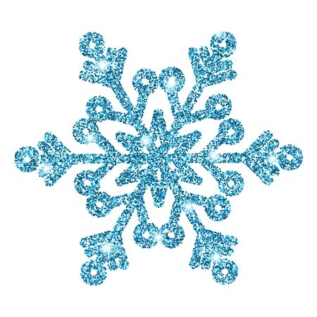 Blue glitter shine snowflake isolated on white background. Christmas decoration. Vector illustration.