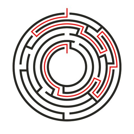 Education logic game circle labyrinth for kids. Find right way. Isolated simple round maze black line on white background.  With the solution. Vector illustration.