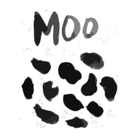 Background cow texture pattern. Moo. Black spots. Illustration