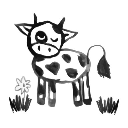 Hand drawn illustration. Cute funny farm animal for kids. Nursery print cow. Black, white. Imagens - 132062449