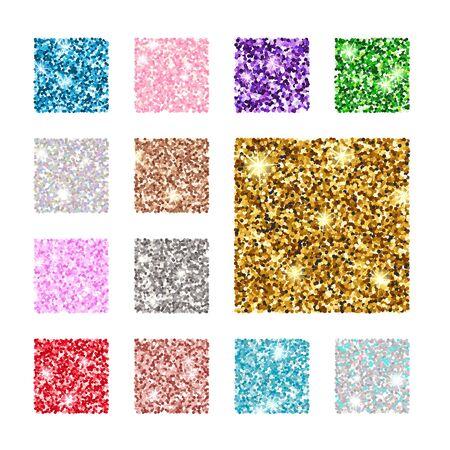 Illustrazione vettoriale. Impostare il motivo a trama di glitter quadrati di colore. Oro, argento, rosso, rosa, blu verde viola