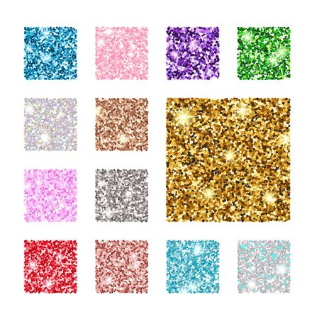 Vektor-Illustration. Stellen Sie quadratisches Farbglitter-Texturmuster ein. Gold, Silber, Rot, Pink, Blaugrün Lila