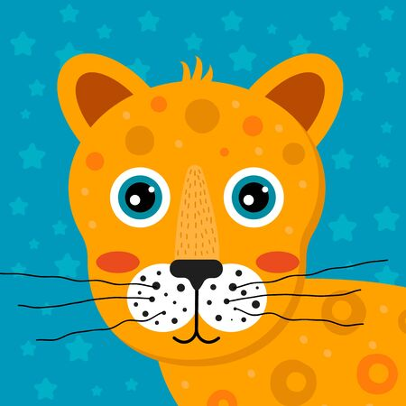 vector illustration. Childrens cartoon tropical animal. Head cute jaguar for the kids