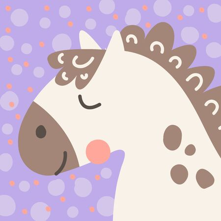 Vector illustration. Cute funny farm animal for kids. Nursery print head cartoon horse