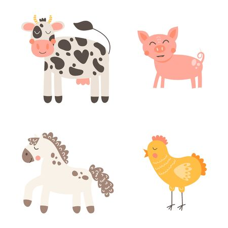 Vector illustration. Nursery print cute funny farm animals isolated on white background. Cow, pig, horse, chicken