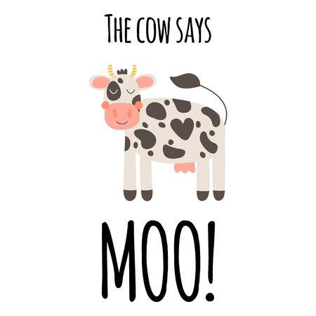 Vector illustration. Cute funny farm animal for kids. Nursery print cartoon cow. Black, white and pink.   Illustration