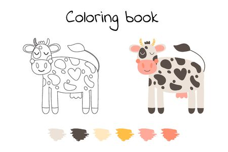 Vector illustration. Cute funny farm animal for kids. Coloring page cartoon cow. Black, white and pink.   Illustration
