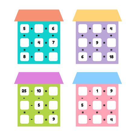 Vector illustration. Math game for preschool and school age children. Count and insert the correct numbers. Addition, subtraction. Set houses with windows