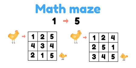 Vector illustration. game for preschool children. mathematical maze. Help the chicken to find the chick. find numbers from 1 to 5 Stock Illustratie