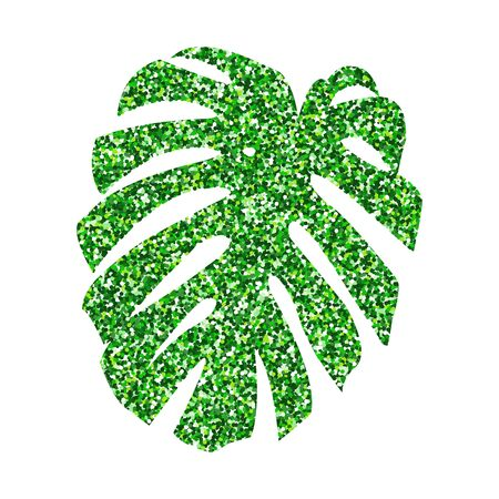 Vector illustration.  Glitter texture green tropical leaf monstera isolated on white background
