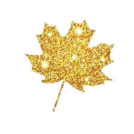 Vector illustration.  Glitter texture gold autumn leaf maple Illustration