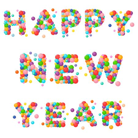 Vector cartoon text for kids of the colored balls. Happy new year