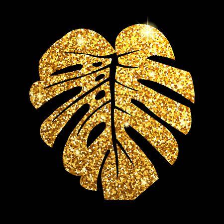 Vector illustration.  Glitter texture gold tropical leaf monstera on black background