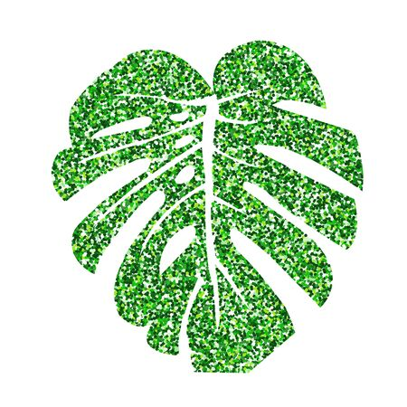 Vector illustration.  Glitter texture green tropical leaf monstera isolated on white background.