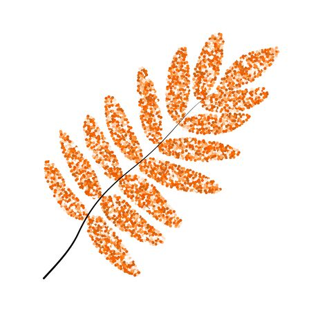 Fall leaf rowan. Glitter texture gold orange. autumn.