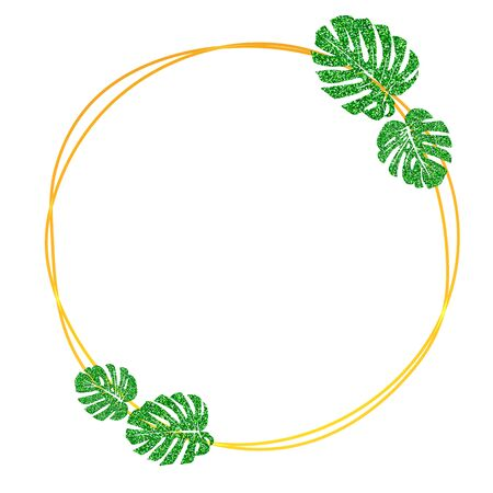 Vector illustration.  Gold round frame with glitter texture green tropical leaf monstera. Illustration